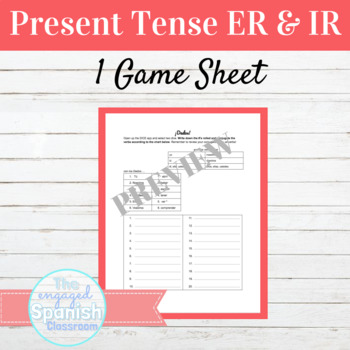 Spanish Present Tense ER and IR Verbs Dice Game