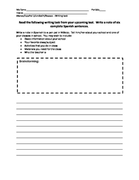 Spanish 1 EDUCATION Writing Task