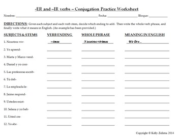 Spanish 1 - ER and IR Verbs Conjugation Practice Worksheet and Sentence Writing