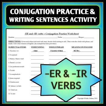 Spanish 1 - ER and IR Verbs Conjugation Practice Worksheet and ...