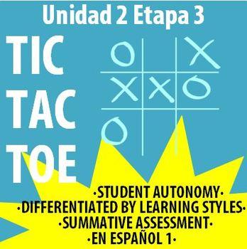 Spanish 1 - En Espanol 1 - U2E3 - Differentiated TIC TAC TOE Board