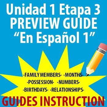 Spanish 1 - En Espanol 1 - Unidad 1 Etapa 3 Preview Guide