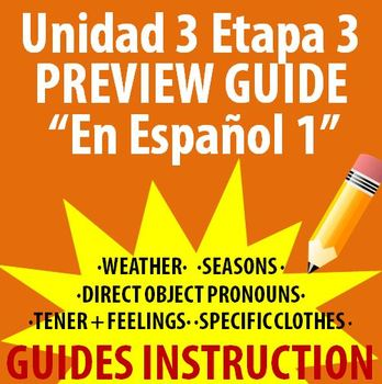 Spanish 1 - En Espanol 1 - Unidad 3 Etapa 3 Preview Guide