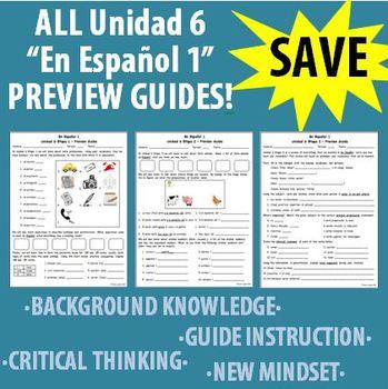 Spanish 1 - En Espanol 1 - Unidad 6 ALL Etapas - Preview Guides