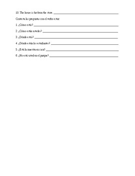 Spanish 1: Estar and Ir Worksheets