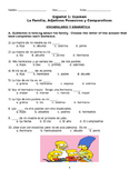 Spanish 1 Exam: Family Vocabulary, Possessive Adjectives and Comparatives