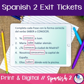 Spanish 2 Exit Tickets:  110