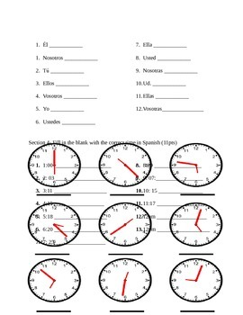 Spanish 1 ¡Expresate! Ch.1 Test 1