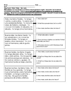 Spanish 1 FAMILY Basic Reading Comprehension