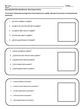 Spanish 1 FAMILY Family Questions and Answers Practice