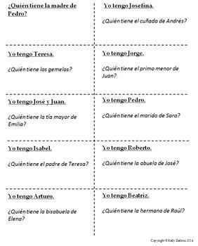 """Spanish 1 - Family Vocab Practice - """"I have, Who has?""""/""""Yo tengo, ¿Quién tiene?"""""""