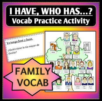 "Spanish 1 - Family Vocab Practice - ""I have, Who has?""/""Yo"