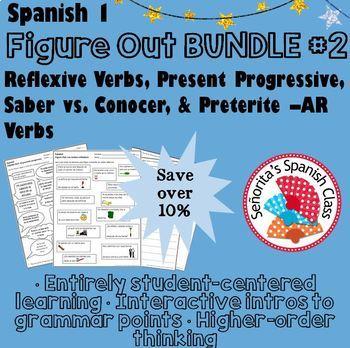 Spanish 1 - Figure Out BUNDLE #2 - Reflexive Verbs, Present Progressive, & more!