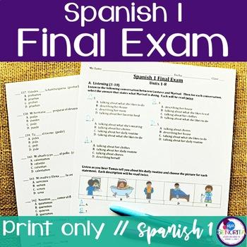 Spanish 1 Final Exam by Miss Senorita | Teachers Pay Teachers