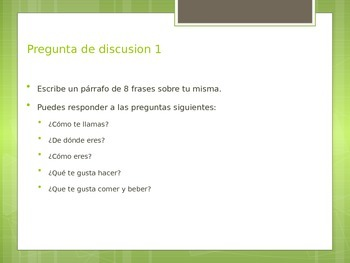 Spanish 1 Final Exam Discussion Questions