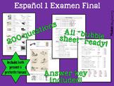 Spanish 1 Final Exam / Español 1 Examen Final (PRETERITE INCLUDED)