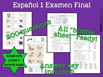 Spanish 1 Final Exam / Español 1 Examen Final (PRETERITE I
