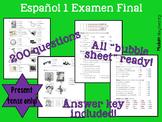 Spanish 1 Final Exam / Español 1 Examen Final w/ reading p