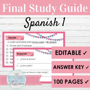 Spanish 1 Final Exam Review: 48 Page Study Guide for Vocab + Grammar