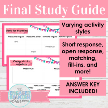 Spanish 1 final exam study guide