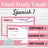 EDITABLE Spanish 1 Final Exam Study Guide | Review Activities