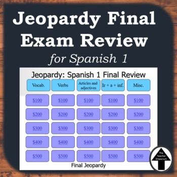 Spanish 1 Final Exam Review Jeopardy Cummulative Review Game