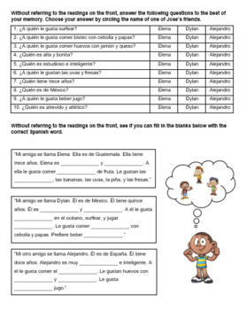 Spanish 1 Food La Comida Reading Comprehension Worksheet