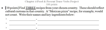 Spanish 1 Food: Writing and Culture Project