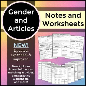 Spanish 1 - Gender and Definite & Indefinite Articles - Worksheets and Notes