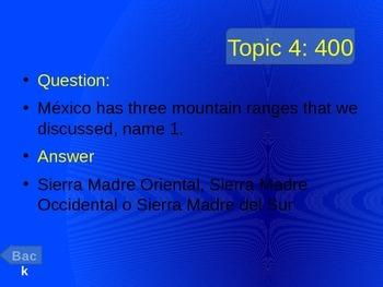 Spanish 1 Geography Jeopardy