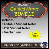 Spanish 1 Guided Notes Bundle with Keys