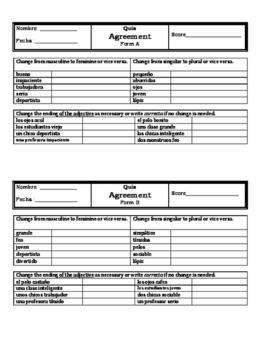 Spanish 1 Grammar Quizzes