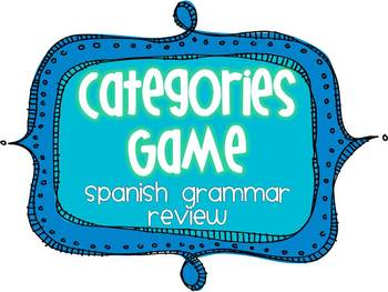 Spanish 1 Grammar Review Categories Game