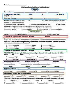 Spanish 1 Guided notes- Nouns, Definite, and Indefinite Articles