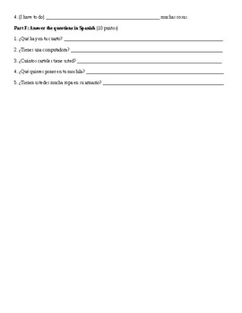 Spanish 1: Home Vocabulary and the Verbs Tener and Hay Test