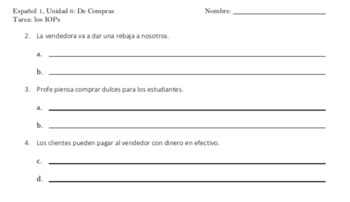 Spanish 1 Indirect Object Pronouns (IOPs) Homework Worksheets (2)