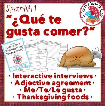 Spanish 1 - Interactive Thanksgiving (Dia de Accion de Gracias) Foods Activity