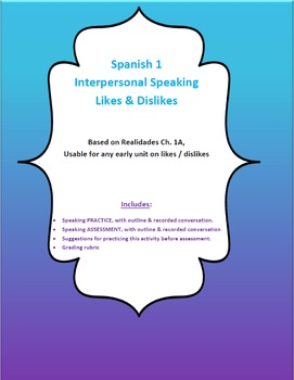 Spanish 1 - Interpersonal Speaking (Likes & Dislikes)