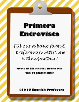 Spanish 1 Interview Form & Partner Speaking Practice