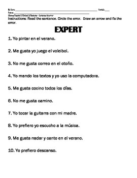 Spanish 1 LIKES & ACTIVITIES & SPORTS & WEATHER Fix error in sentences practice