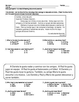 Spanish 1 LIKES & ACTIVITIES & SPORTS & WEATHER Reading do
