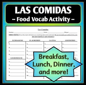 Spanish 1 - Las Comidas Homework Worksheet Activity - Food and Meals