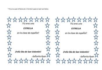 Las Tarjetas del Día de San Valentín - Student & Teacher Valentines Day cards