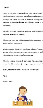 Spanish 1 Activity: Letter Writing (Family/Adjectives/Classes/Tener/Ser)