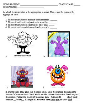 Spanish 1 Monster Worksheet Body Parts and Colors