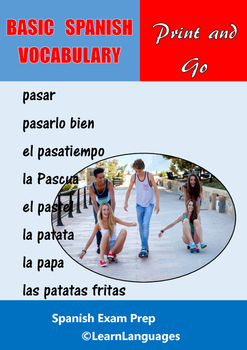 Basic Spanish Vocabulary - Study Booklet - 800 common words