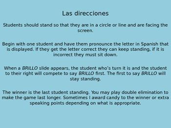 Spanish 1 Para Empezar Alphabet Brillo Game