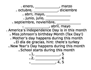 Spanish 1 Para Empezar Around the Room Days Dates and Months