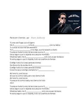 Spanish 1 + Parecen Viernes - Song Activity w/ Stem-changing Verbs  Marc Anthony