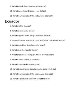 Spanish 1 Passport to Europe DVD questions Ecuador Samantha Brown Sub plans